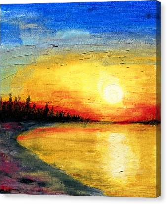 Sun Over The Lake Canvas Print by R Kyllo