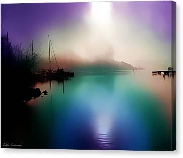 Sun Peeking Through The Clouds  In Kenmore Washington Canvas Print by Eddie Eastwood