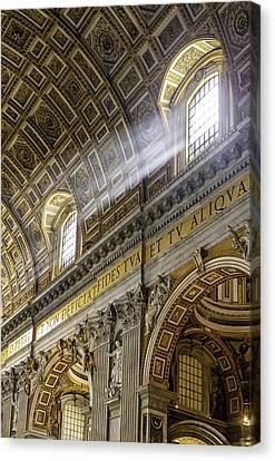 Sun Rays In St. Peter's Basilica Canvas Print by Susan Schmitz