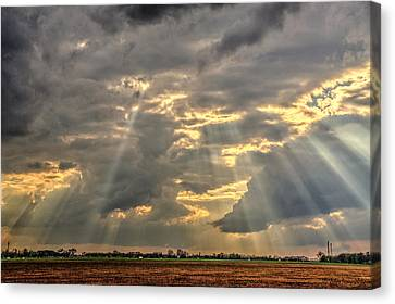 Sun Rays Over A Field Canvas Print by Julis Simo