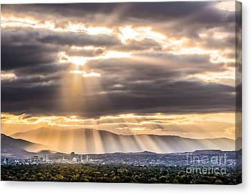 Sun Rays Over Reno Canvas Print