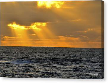 Canvas Print featuring the photograph Sun Rays Through The Clouds by Alex King
