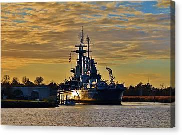 Sun Reflecting On Battleship Canvas Print by Cynthia Guinn