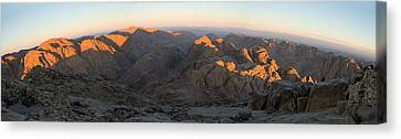Canvas Print featuring the photograph Sun Rising On Sinai - Wide Angle Panorama by Julis Simo