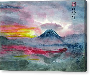 Sun Salutation At Mt. Fuji Canvas Print