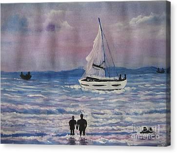Sun Set Canvas Print by Usha Rai