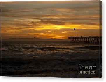 Sun Setting Behind Santa Cruz With Ventura Pier 01-10-2010 Canvas Print by Ian Donley