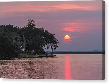 Sun Setting In The Bayou Canvas Print by Brian Wright