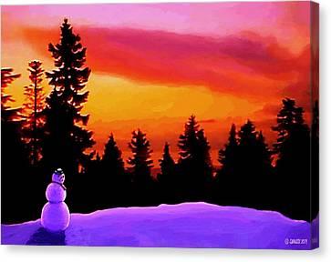 Sun Setting On Snow Canvas Print