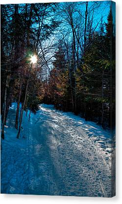 Sun Setting On The Lock And Dam Trail Canvas Print by David Patterson