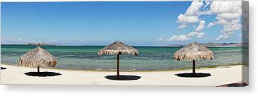 Sun Shade On The Beach Of La Paz, Baja Canvas Print by Panoramic Images