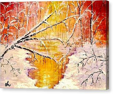 Canvas Print featuring the painting Sun Shy... by Cristina Mihailescu