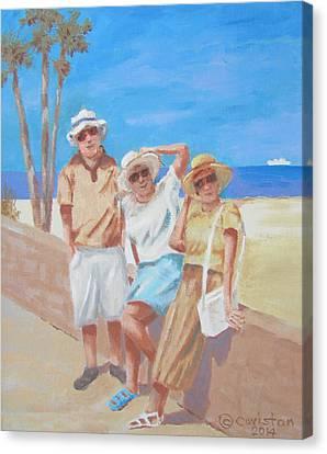 Canvas Print featuring the painting Sun Tourist by Tony Caviston