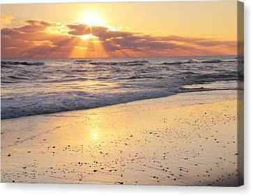 Sunbeams On The Beach Canvas Print by Roupen  Baker