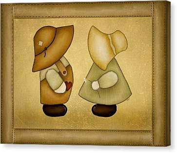 Block Quilts Canvas Print - Sunbonnet Sue And Overall Sam by Brenda Bryant
