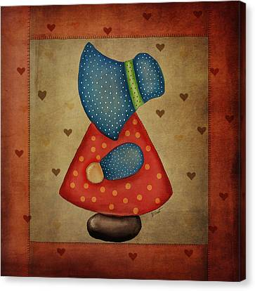 Block Quilts Canvas Print - Sunbonnet Sue In Red And Blue by Brenda Bryant