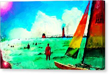 Canvas Print featuring the painting Sunday At Grand Haven by Ted Azriel