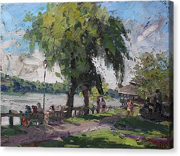 Sunday At Lewiston Waterfront Park Canvas Print by Ylli Haruni