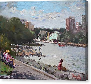 Riverscape Canvas Print - Sunday At Port Credit Park Mississauga by Ylli Haruni