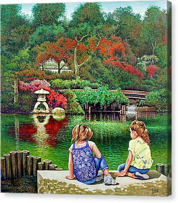 Canvas Print featuring the painting Sunday At The Park by Michael Frank