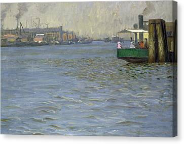 Sunday Atmosphere On The Elbe Canvas Print by Leopold Karl Walter von Kalckreuth