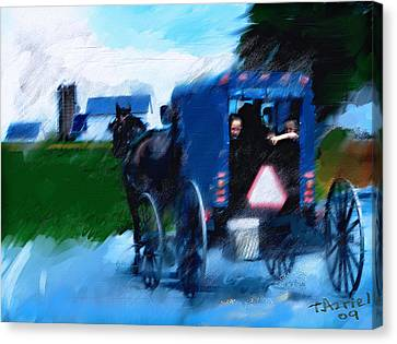 Canvas Print featuring the painting Sunday Buggy Ride by Ted Azriel