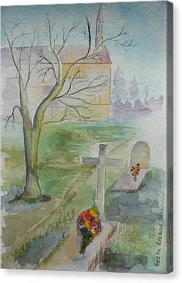 Canvas Print featuring the painting Sunday by Geeta Biswas