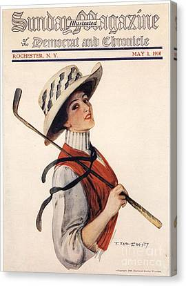 Sunday Magazine 1910s Usa Golf Womens Canvas Print by The Advertising Archives