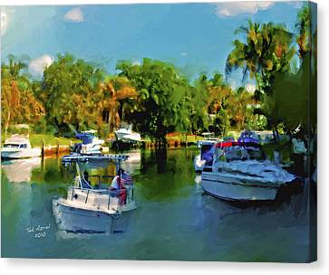 Canvas Print featuring the painting Sunday Outing by Ted Azriel