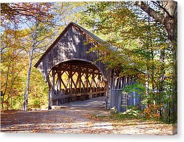Sunday River Covered Bridge Canvas Print by Jeff Folger