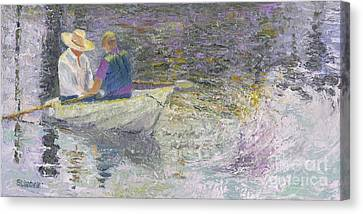 Canvas Print featuring the painting Sunday Sailors by Sandy Linden