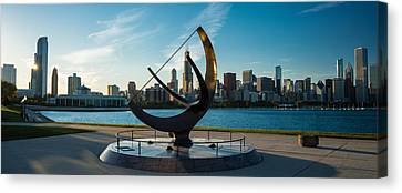 Sundial And Chicago Il Canvas Print