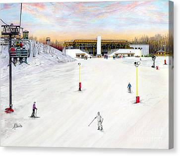 Canvas Print featuring the painting Sundial Lodge At Nemacolin Woodlands Resort by Albert Puskaric