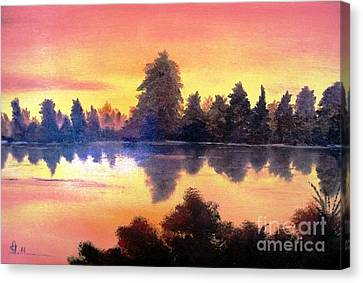 Canvas Print featuring the painting Sundown by AmaS Art