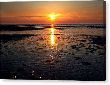 Canvas Print featuring the photograph Sundown At The North Sea by Annie Snel