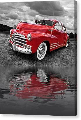 Sundown By The Lake - 1948 Red Chevy Canvas Print