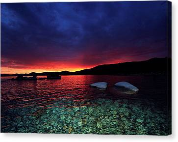 Canvas Print featuring the photograph Sundown In Lake Tahoe by Sean Sarsfield