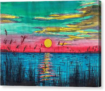 Sundown In The Glades Canvas Print by Beverly Marshall