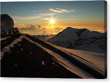 Keck Telescope Canvas Print - Sundown On Mauna Kea by Scott Rackers