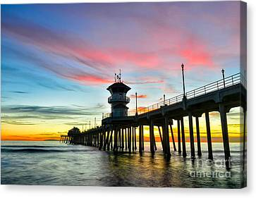Sunet At Huntington Beach Pier Canvas Print by Peter Dang