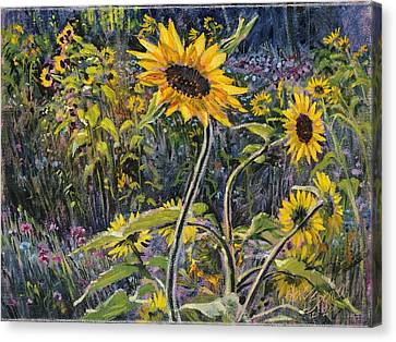Canvas Print featuring the painting Sunfloral by Steve Spencer