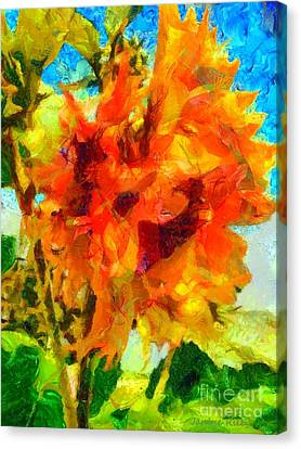 Sunflower Afternoon Impressions Canvas Print by Janine Riley