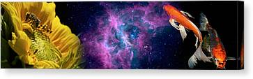 Sunflower And Koi Carp In Space Canvas Print by Panoramic Images
