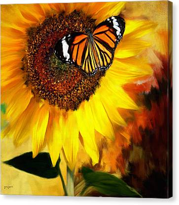 Sunflower And Butterfly Painting Canvas Print by Lourry Legarde