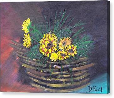 Sunflower Basket Canvas Print by The GYPSY And DEBBIE