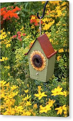 Sunflower Birdhouse In Garden Canvas Print by Richard and Susan Day