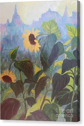Sunflower City 1 Canvas Print by Gretchen Allen