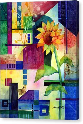 Sunflower Collage 2 Canvas Print by Hailey E Herrera