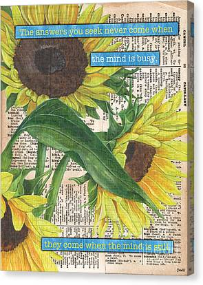 Dictionary Canvas Print - Sunflower Dictionary 1 by Debbie DeWitt