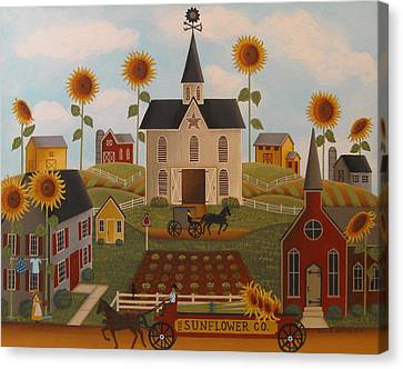Sunflower Farms Canvas Print by Mary Charles